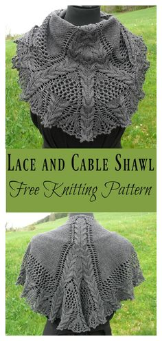 Lace and Cable Shawl Free Knitting Pattern #shawl #freeknittingpattern #lace