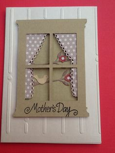 Poppy stamp dies, window and curtain, Mother's Day card