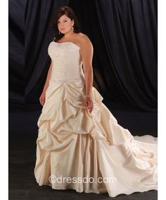 Strapless Sweetheart Ivory Plus Size Ball Gown Floor-length Taffeta Zipper Up Wedding Dress With Ruched – Dressdo.com