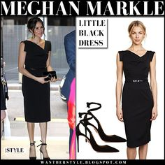 Meghan Markle in black sleeveless belted dress and black pumps #littleblackdress #royalfamily #style #fashion #celebrity #outfits #