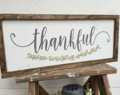 2 -Sided THANKFUL / WE BELIEVE double-sided, hand-painted wooden sign 8.5 x 19                                                                                                                                                                                 More