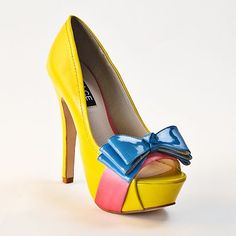 DOLCE by Mojo Moxy Tootsie Peep-Toe Platform High Heels  $84.99...............all I see here is adult Snow White shoes!