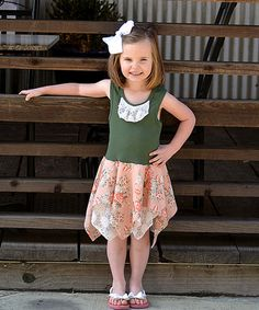 Look at this #zulilyfind! Coral Roses Handkerchief Dress - Infant, Toddler & Girls #zulilyfinds