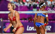 Triumph: Laura Ludwig of Germany celebrates during the women's beach volleyball round of 16 match  Picture: GETTY IMAGES