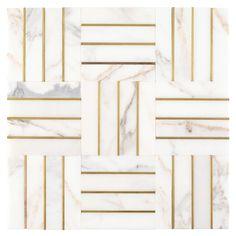 Manhattan Calacatta Statuario and Gold Marble Mosaic - 12 x 12 - 100578764 Stone Tile Flooring, Stone Tiles, White Tile Floors, Marble Mosaic, Mosaic Tiles, Backsplash Tile, Cement Tiles, Marble Art, Carrara