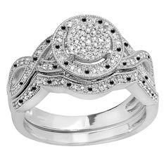 Sterling Silver 1/2ct TDW Round Black and White Diamond Micro Pave Engagement Ring Set (I-J, I2-I3) (Size