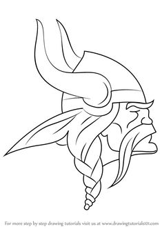 Learn How to Draw Minnesota Vikings Logo (NFL) Step by Step : Drawing Tutorials Minnesota Tattoo, Minnesota Vikings Football, Bloomington Minnesota, Brainerd Minnesota, Duluth Minnesota, Minnesota Twins, Viking Drawings, Cool Drawings, Tattoo Drawings