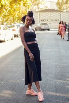 **Comes with a free bandeau**   These side slit culottes take on a relaxed silhouette for the new season, with sports tailoring setting the trends right now wide leg pants are the one's to watch.Wear as a dramatic day time look or tone down with a crop top and go for an androgynous look with some trendy takkies. Made in South Africa Androgynous Look, Day And Time, Stripe Print, Wide Leg Pants, South Africa, High Waisted Skirt, Silhouette, Autumn, Trends