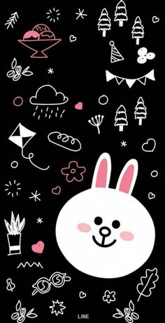 Rabbit and dream Inspirational Phone Wallpaper, Phone Wallpaper Images, Lines Wallpaper, Friends Wallpaper, Bear Wallpaper, Cool Wallpapers For Phones, Cute Wallpaper For Phone, Kawaii Wallpaper, Cute Wallpaper Backgrounds
