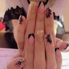 french nails with rhinestones Beautiful Gorgeous Nails, Pretty Nails, Acrylic Nail Designs, Nail Art Designs, Acrylic Nails, Gel Nail, Nails Design, Nail Polish, Lace Nails