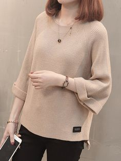 Round Neck Patchwork Elegant Plain Bell Sleeve Three-Quarter Sleeve Knit Pullover the best Online Clothing Shopping Boutiques, get the latest fashion clothing online # Girly Outfits, Trendy Outfits, Spring Outfits, Winter Outfits, Latest Fashion Clothes, Fashion Outfits, Fall Fashion, Womens Fashion, Comfortable Outfits