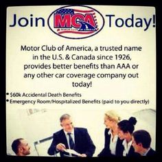 JOIN MCA TODAY , BEFORE IT'S TO LATE , YOU DON'T WANNA BE DRIVING AROUND AND GET STUCK , RUN OUT OF GAS, LOVE YOUR KEYS IN YOUR WITH THIS YOU ARE COVERED OVER 150,000 IN BENEFITS   YOU ALSO GET HEALTH UP TO 60% OFF DENTAL , EYE , AND SO MUCH MORE PLEASE VIEW FULL LIST IF BENEFITS HERE   www.tvcmatrix.com/zkline  Plans starting as low as $9.99