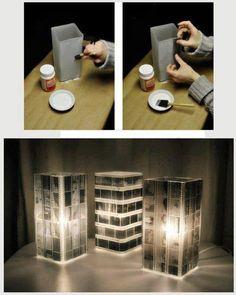 luminária com filme fotográfico