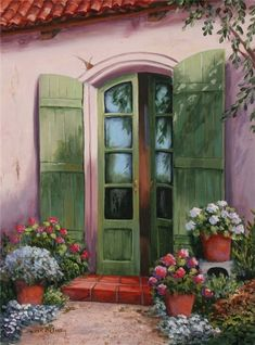 Декупаж Картинки Pictures To Paint, Garden Art, Watercolor Art, Painting Tips, Painting & Drawing, Cottage Art, Painted Doors, Windows And Doors, Canvas Art