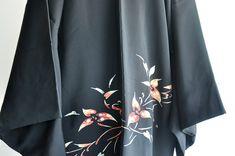 Black Kimono Jacket, Women's Kimono Cardigan, Japan Outfit, Short Kimono, Japanese, Silk, Boho, Floral, Model