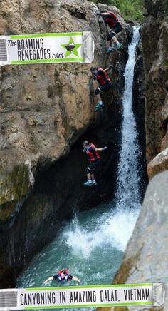 Leaping into a narrow cavern, ziplining over a turquoise lake and abseiling over a waterfall: Canyoning in Dalat, Vietnam! Adventure Activities, Adventure Tours, Adventure Travel, Vietnam Travel, Asia Travel, Travel Tips, Travel Info, Travel Stuff, Camping