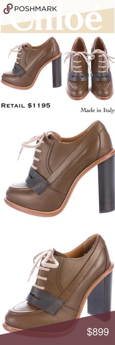 """NIB Chloé Brogues Chunky Heel Oxford Ankle Bootie Brand: Chloe. Made in Italy.   Material: Calfskin Leather  EU Size: 37.5  US Size: 7-7.5 (fit good as a 7, but accommodate a 7.5 as well)  Insole Length: 9.75""""  Width: 3.25""""  Heel Height: 4.25""""  Retail: $1195. Brisette #0-21  Condition: New in Box with dust bag Chloe Shoes Ankle Boots & Booties"""