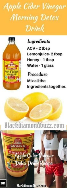 Apple cider vinegar morning detox drink for weight loss and belly fat. With regular exercises and apple cider vinegar drink you will lose 20 pounds in 2 weeks . Try it!