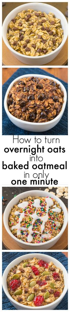 How to turn overnight oats into baked oatmeal in just ONE minute! - BREAKFAST GAME CHANGER! thebigmansworld.com