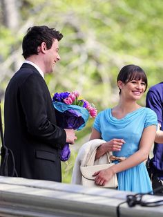 """Lea Michele Photos Photos - """"Glee"""" stars Cory Monteith and Lea Michele film a romantic scene for the hit US show at the Bow Bridge in Central Park, New York. - Cory Monteith and Lea Michele at Bow Bridge Rachel And Finn, Lea And Cory, Glee Season 3, Prom King And Queen, Glee Cory Monteith, Finn Hudson, Romantic Scenes, Glee Cast, Senior Prom"""