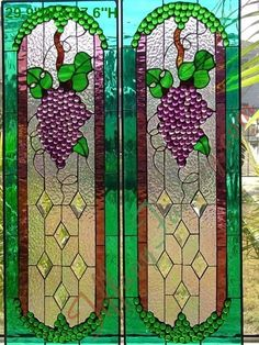 beautiful grapevine stained glass for kitchen cabinet doors or side panels