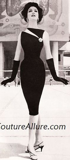 1960 Betsy Pickering in black cocktail sheath with slashed tabletop neckline by Estévez