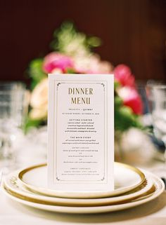 cute course titles on this menu. Mae Mae Paperie dinner menu | photo by Jessica Burke | 100 Layer Cake