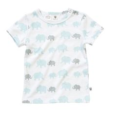 """Baby boy short sleeve tee, features Hoot Baby signature elephant print. Snaps at neck. Complete the look with pale blue/white stripe pants. 100% Cotton """"A Layette range, Hoot Baby is for newborns thru to 12 months. Designed with heaps of personality, superior fabrics, and function in mind, Hoot Baby provides the ultimate in comfort and style"""" $7.95 local shipping, free shipping on all Aust wide orders over $150!"""