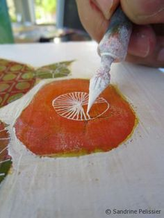 How to paint flowers on board with Acrylic and Pen and Ink