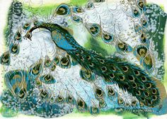 "Print of ""Peacock"" Original Painting -- Turquoise, Gold, Green, White, Detailed"