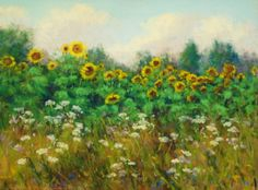 Original painting in pastel, Field with Sunflowers, 9x12. Copyright, 2014, Kathleen Kalinowski. sold.