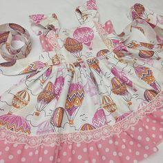 Hot air baloon dress, Birthday Girls dress, Easter baby dress, photo prop,Infant dress,Toddler balloon dress, baby flutter sleeve lace dress