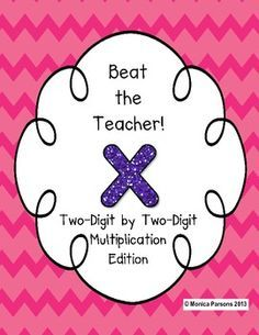 Two-Digit by Two-Digit Multiplication: Beat the Teacher Game Teaching Secondary, Teaching 5th Grade, 5th Grade Math, Teaching Math, Teaching Ideas, Teacher Games, Math Games, Teacher Stuff, Two Digit Multiplication