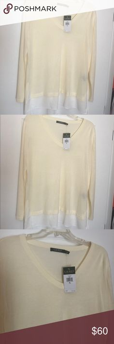 NWT Lauren Ralph Lauren Ivory Tunic Blouse Gorgeous blouse, thin ivory sweater with white blouse bottom making it a tunic. It's a 3 in one- sweater/blouse/tunic. Can dress up with a skirt or down with leggings because it covers the tush! This is a beautiful top! Even though the tag says petite it is long enough for regular size too. I had 2 of these I wore often! generous sizing will fit XL. Very flattering and a great deal! Purchased at Ralph Lauren. Lauren Ralph Lauren Tops Tunics