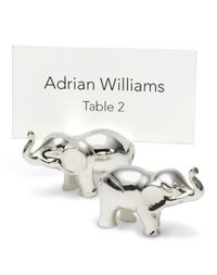 Elephant place card holders for food labels