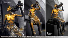 Libertaria, escultura en bronce, Rebeca Chávez, Palacio Clavijero, Morelia, Michoacán
