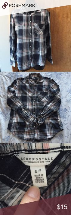 Aeropostale plaid shirt Navy blue, white, and pink plaid shirt. In EUC only worn once, no rips, stains, piling, or other flaws. Aeropostale Tops Tees - Long Sleeve