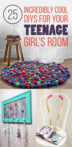 25 Gorgeous DIYs For Your Teenage Girl's Room  I love the confetti wall and the string letters. Easy DIY decorations for a dorm.