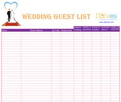 A Preofesional Excel blank wedding guest list