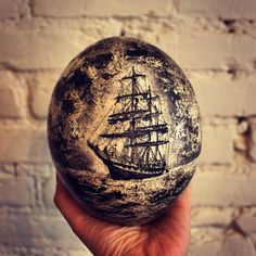 "Maritime Scrimshaw Ostrich Egg, Etched and Inked by Hand. Nautical Decor, Beach Wedding, Sailboats & Sailing, Americana, Egg | ""Stone Fleet""..."