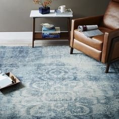 I like this style to be layered over your rug but the color should be a color in your rug and one that works with the blue on the  slipcovers.