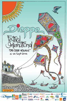 Travel Poster - Le Festival International de Cerf-Volant de Dieppe - Normandy - France - 2014.