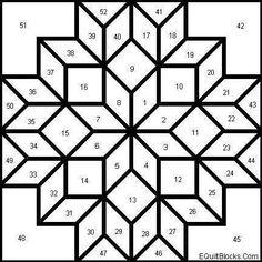Patrón de patchwork - Diseño multiestrella para hacer patchwork. Fuente: Pinterest