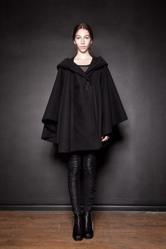 The update Little Red Riding Hood look. Black Hooded Wool Cloak by Ovate on Etsy, $210.00
