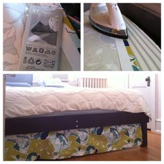 Cover the mess under the bed! No-sew bed skirt using Ikea fabric & iron-on adhesive.
