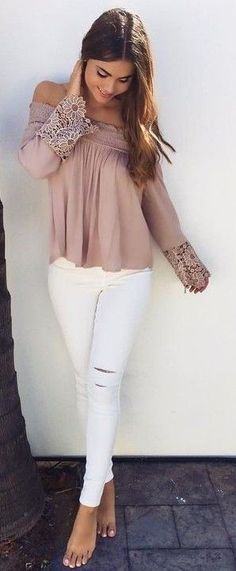 Pink Boho Top + White Denim Source