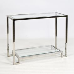 """Lyle Nickel Console AVAILABLE FOR IMMEDIATE SHIP!! Product Information  30""""h x 36""""w x 14""""d  2-tier nickel plated console with beveled glass ..."""