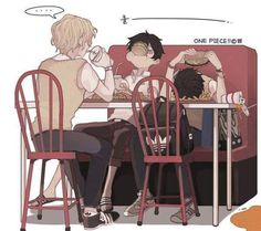 OMG, I love this!!!  Ace sleeping while eating and Luffy eating while sleeping xD