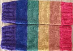 Hand-knitted wrist warmers in Pride rainbow colors in pure wool Wool Gloves, Fingerless Gloves Knitted, Angora Rabbit, Wrist Warmers, Rainbow Pride, Alpaca Wool, Rainbow Colors, Mittens, Hand Knitting