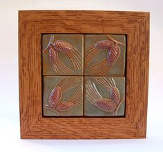 Pine-cone tile arranged in one frame Christmas by FayJonesDayTile